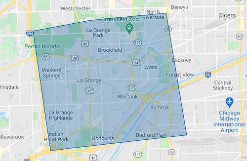 Service Area Map. La Grange and surrounding areas.